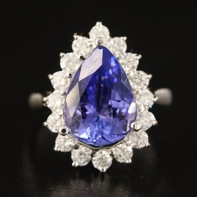 18K 4.78 CT Tanzanite and Diamond Teardrop Halo Ring