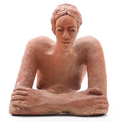John Tuska Terracotta Sculpture of Woman, Late 20th Century