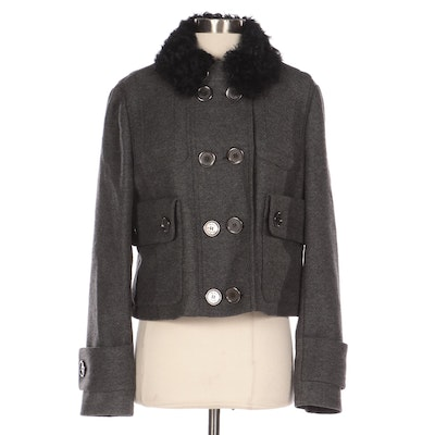 Burberry Cropped Jacket in Wool-Cashmere with Detachable Sheepskin Collar