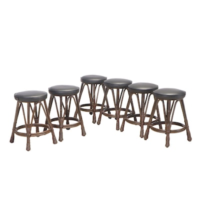 Six Bentwood and Vinyl Seat Counter Stools, Late 20th Century