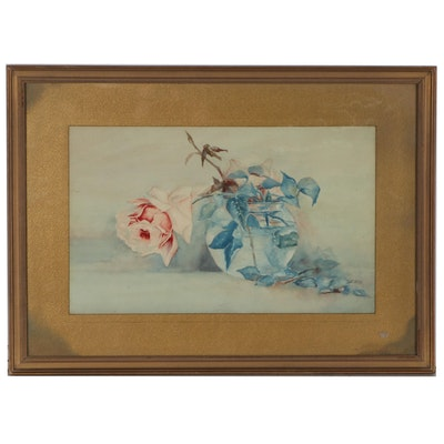 Floral Still Life Watercolor Painting, Early 20th Century