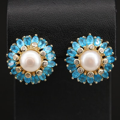 Sterling Pearl, Apatite and Cubic Zirconia Earrings