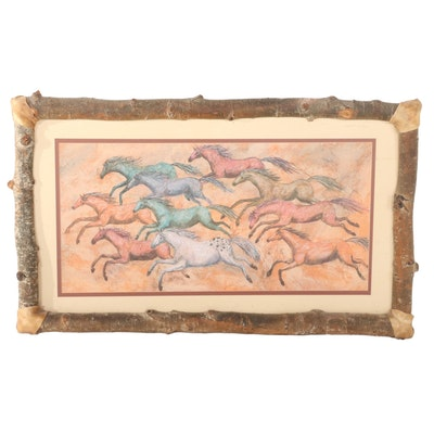 "Giclée After Crystal Carol ""Spirit Horse and Rainbow Herd,"" 21st Century"
