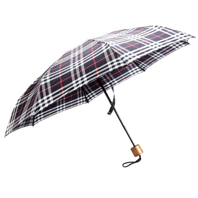 "Burberry Folding Umbrella in Navy ""Vintage Check"""