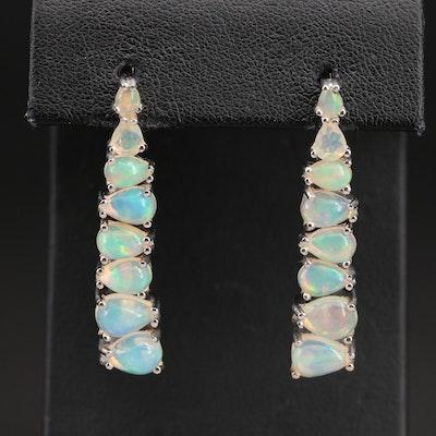 Sterling East-West Set Opal Earrings