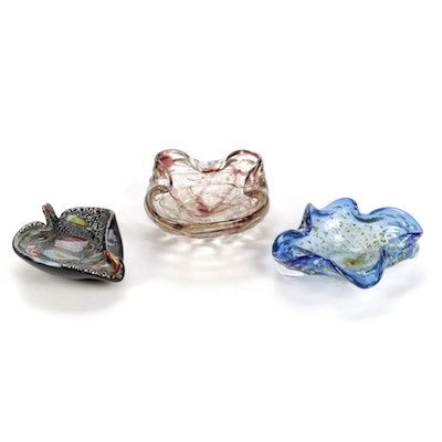 Murano Style Blown Art Glass Ashtrays, Mid to Late 20th Century