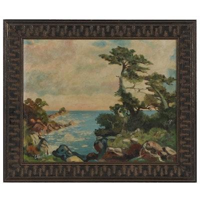 C. Covert Thomas Coastal Landscape Oil Painting