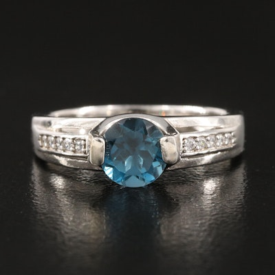 Sterling Silver London Blue Topaz and Cubic Zirconia Ring