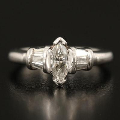 14K Diamond Ring with 0.52 CT Marquise Cut Diamond Center