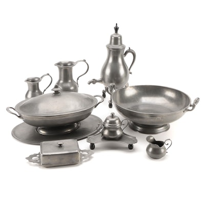 Old World Pewter Serveware and Tableware, Late 20th Century