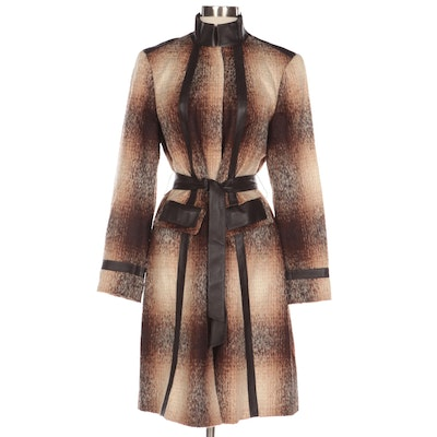 Lafayette 148 New York Alpaca and Wool Knit Coat with Leather Trim