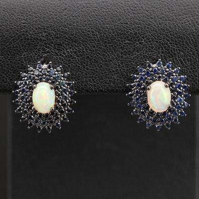 Sterling Opal and Sapphire Dangle Earrings