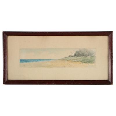 Coastal Landscape Watercolor Painting