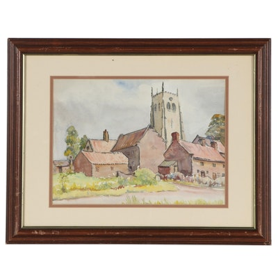 Town Landscape Watercolor Painting