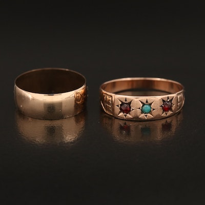 Antique Bands Including Mid-Victorian Garnet and Turquoise Star Set Band