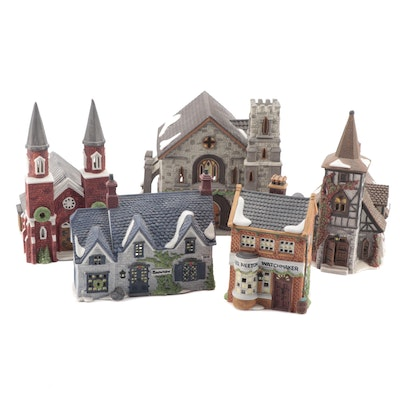 """Department 56, Dickens Series """"Abbey"""" and Other Porcelain Buildings"""