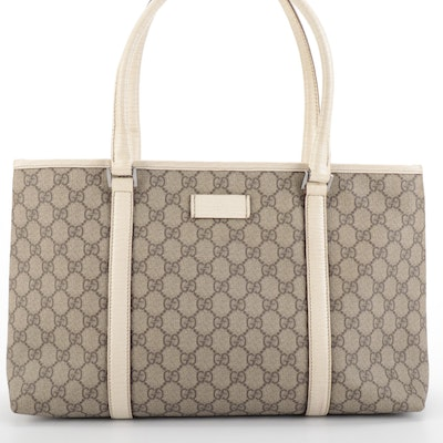 Gucci Tote Bag in GG Canvas with Embossed Leather Trim