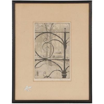"Wendela Boreel Aquatint Etching ""Grosvenor Square, London"""