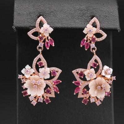 Sterling Flower Earrings Including Garnet, Corundum and Cubic Zirconia