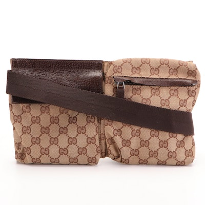 Gucci Belt Bag in Beige GG Canvas and Dark Brown Leather