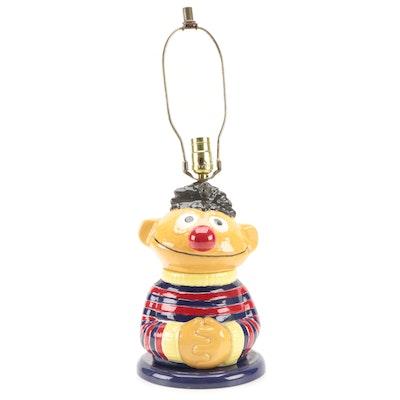 """Sesame Street """"Ernie"""" Novelty Ceramic Table Lamp, 1980s"""