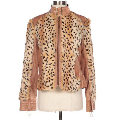 Baby Phat Leather and Dyed Rabbit Fur Jacket