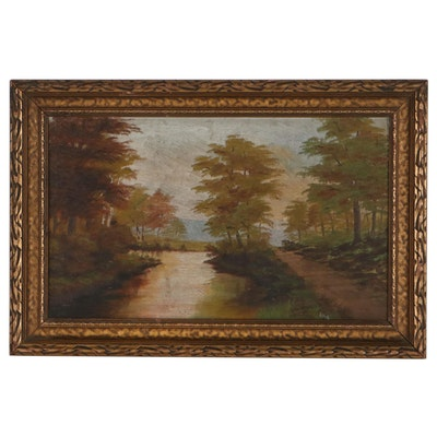 River Landscape Oil Painting, Early 20th Century