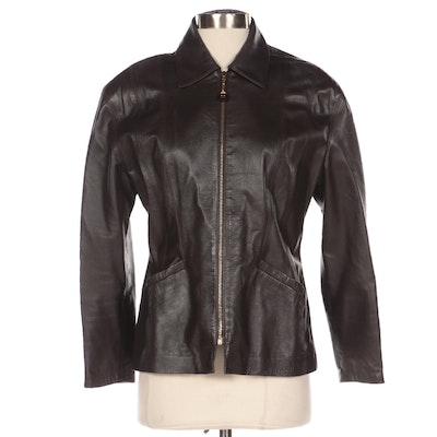 Griffith Gray for St. John Dark Brown Leather Jacket