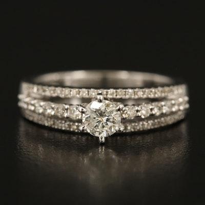 14K Diamond Triple Row Ring with 0.33 CT Center Diamond