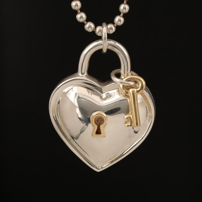 Tiffany & Co. Sterling Heart Padlock and Key Pendant Necklace with 18K Accents