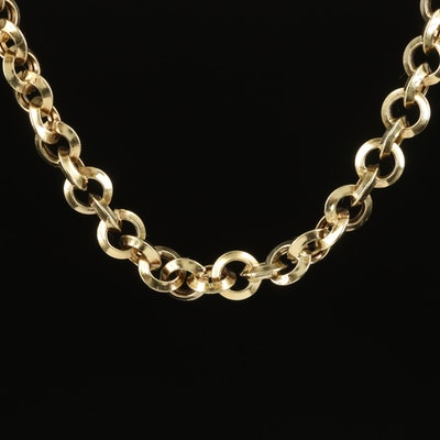 14K Knife Edge Rolo Chain Necklace