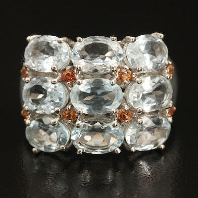 Sterling Aquamarine and Sapphire Triple Row Ring