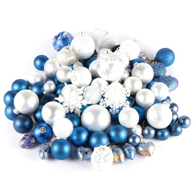 Blue and White Glass Ball Ornaments and Other Christmas Tree Ornaments