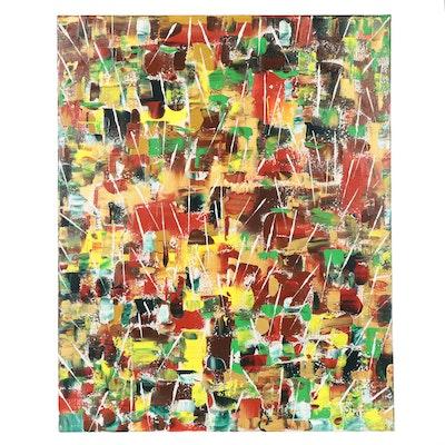 "Saul Gefen Acrylic Painting ""Independence,"" 2021"