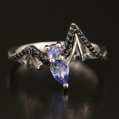 Sterling Tanzanite and Spinel Bat Ring