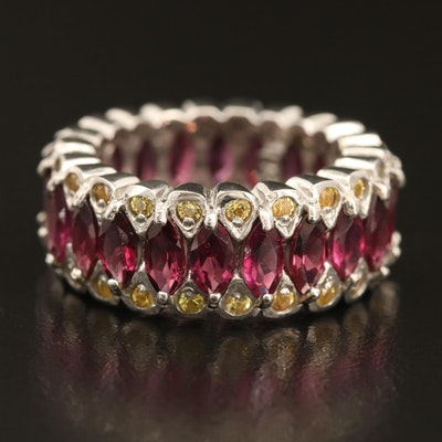 Sterling Garnet and Sapphire Eternity Band
