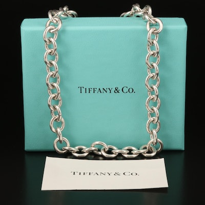 Tiffany & Co, Sterling Heart Tag Necklace with Box
