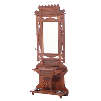 Victorian Walnut, Burl Walnut, and Rouge Marble Hall Stand, Late 19th Century