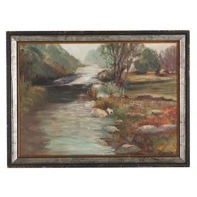 """Doris Maylor Oil Painting """"Along the Otter. Devon"""""""