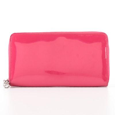 Alexander McQueen Skull Zip Wallet in Pink Patent Leather