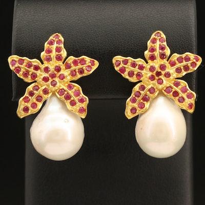 Sterling Pearl and Ruby Flower Earrings