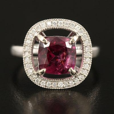 14K 2.61 CT Rhodolite Garnet and Diamond Ring