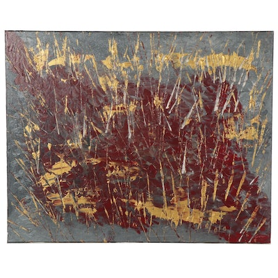 """Saul Gefen Abstract Acrylic Painting """"Rustic Flair,"""" 2021"""