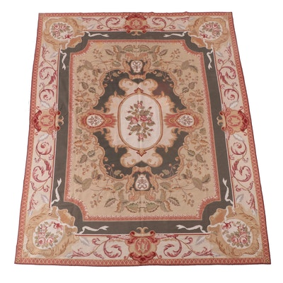 7'10 x 9'10 Handmade French Style Needlepoint Floral Area Rug