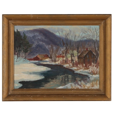 """Morris Oil Painting """"River + Mt. Hiram, Maine,""""Early to Mid-20th Century"""
