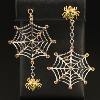 Sterling Spider and Web Earrings with Garnet, Diopside and Amethyst