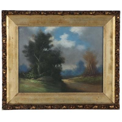 Bucolic Landscape Pastel Drawing, Late 19th Century