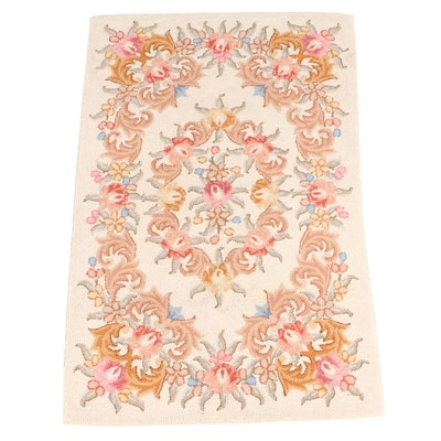 3'4 x 5'6 Hand-Hooked Floral Area Rug