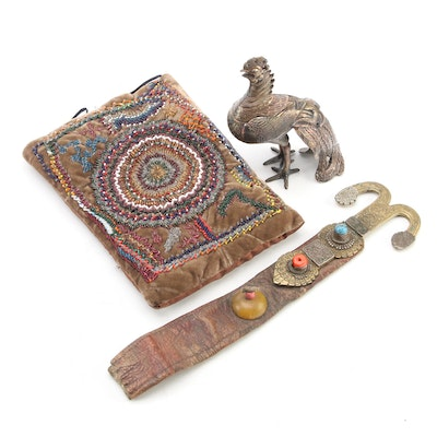 Indo-Persian Brass and Leather Belt Hook with Velvet Beaded Pillow and More