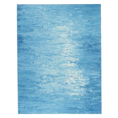 """Saul Gefen Acrylic Painting """"Light Over Water,"""" 2021"""